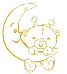 Bear & Moon embroidery design