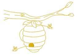 Bee Hive Outline embroidery design
