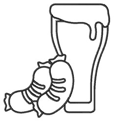 Beer & Sausage embroidery design