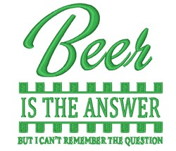 Beer Is Answer embroidery design