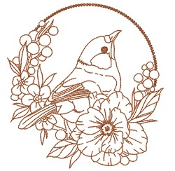 Floral Bird Outline embroidery design