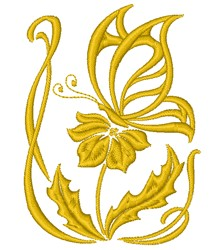 Butterfly On Flower embroidery design