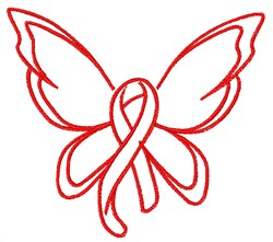 Hope Ribbon Butterfly embroidery design