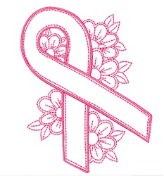 Floral Awareness Ribbon embroidery design