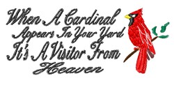 A Cardinal Appears embroidery design