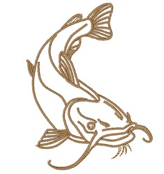 Catfish Outline embroidery design