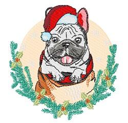 Christmas Pug embroidery design