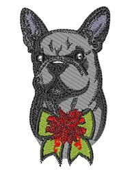 Holiday Bulldog embroidery design