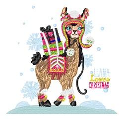 Llama Loves Christmas embroidery design