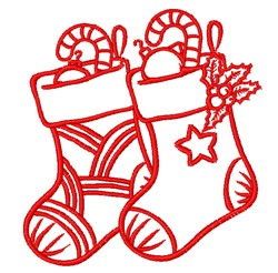 Redwork Christmas Stockings embroidery design