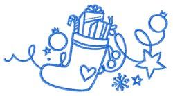 Bluework Christmas Stocking Decoration embroidery design