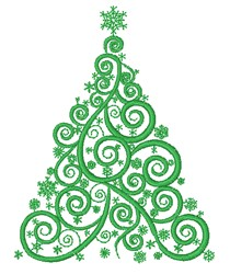 Swirling Christmas Tree embroidery design