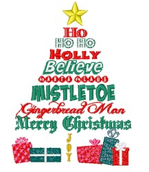 Holly Jolly Christmas Tree embroidery design
