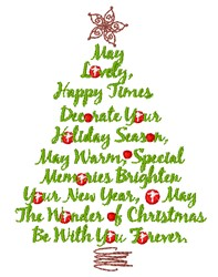Christmas Sayings Tree embroidery design
