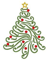 Decorative Swirly, Christmas Tree embroidery design