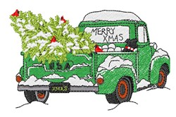 Merry Xmas Pickup Truck embroidery design