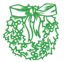 Christmas Wreath Outline embroidery design
