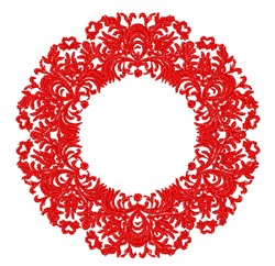 Redwork Christmas Wreath embroidery design