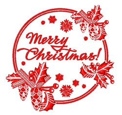 Merry Christmas Redwork embroidery design