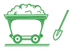 Coal Cart Outline embroidery design