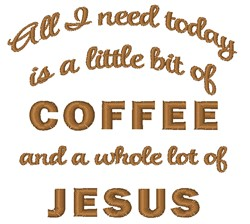 Coffee & Jesus embroidery design