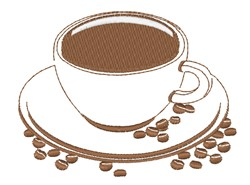 Coffee Cup & Beans embroidery design