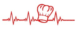 Chefs Hat Heart Beat embroidery design
