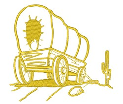 Covered Wagon Scene Outline embroidery design