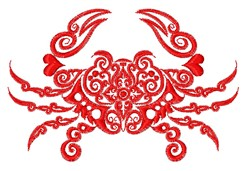 Decorative Crab Outline embroidery design