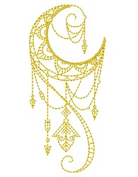 Delicate Decorative Moon Outline embroidery design