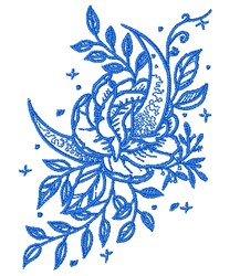 Decorative Rose & Moon Outline embroidery design