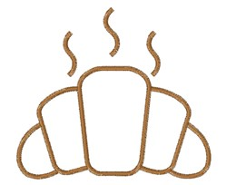Hot Croissant Roll Outline embroidery design