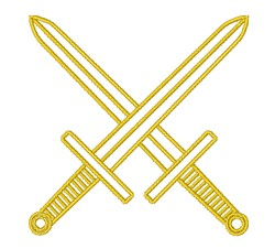 Crossed Long Swords Outline embroidery design