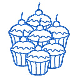 Cupcakes Outline embroidery design