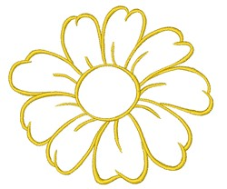Yellow Daisy Outline embroidery design