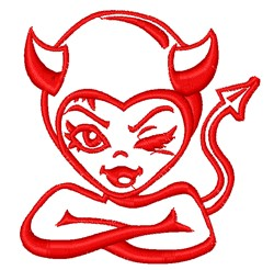 Lady Devil Outline embroidery design