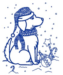 Christmas Puppy Outline embroidery design
