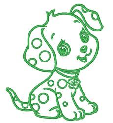 Kawaii Dalmatian Puppy Outline embroidery design