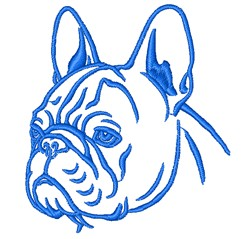 French Bulldog Head Outline embroidery design