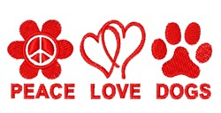 Peace Love Dogs embroidery design