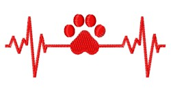 Dog Heartbeat embroidery design