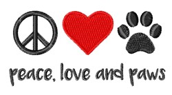 Peace Love Paws embroidery design
