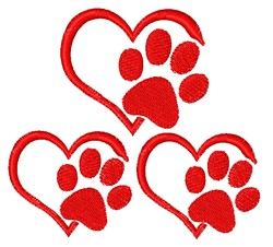 Paws & Hearts embroidery design