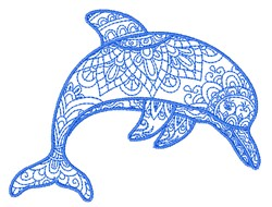 Line Art Dolphin embroidery design