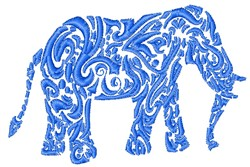 Swirl Elephant embroidery design