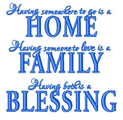 Home Family Blessing embroidery design