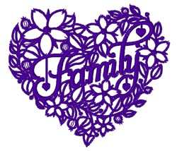 Family Heart embroidery design