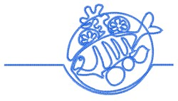 Fish Dinner Outline embroidery design