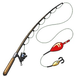 Fishing Pole & Lure embroidery design