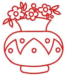 Flowers & Vase Outline embroidery design
